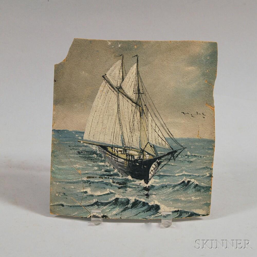 American School, 19th Century      Schooner at Sea