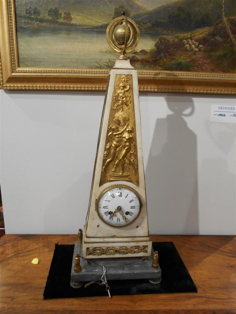 Louis XVI Marble and Ormolu-mounted Mantel Clock