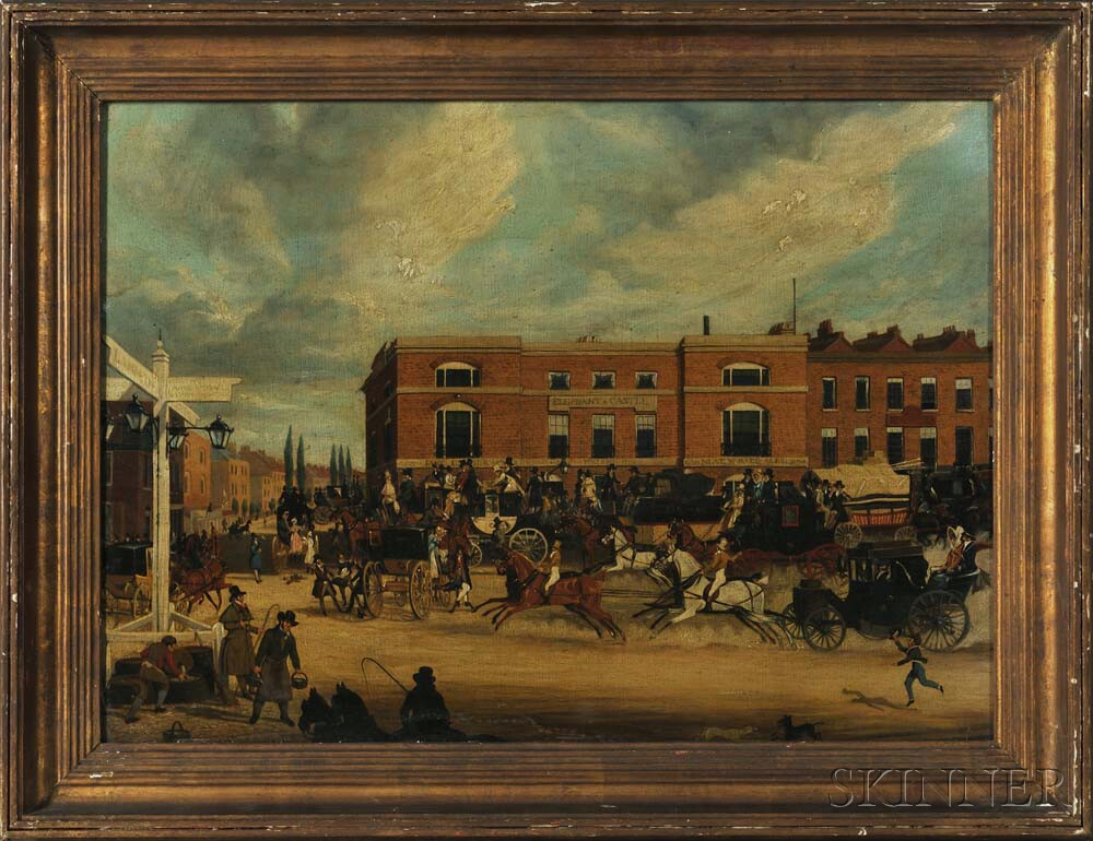 Attributed to James Pollard (British, 1792-1867)      Elephant & Castle Coaching Scene