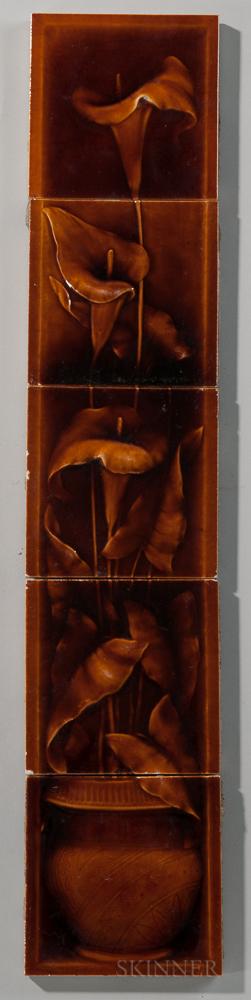 Five-piece American Encaustic Tile Co. Floral Art Pottery Tile