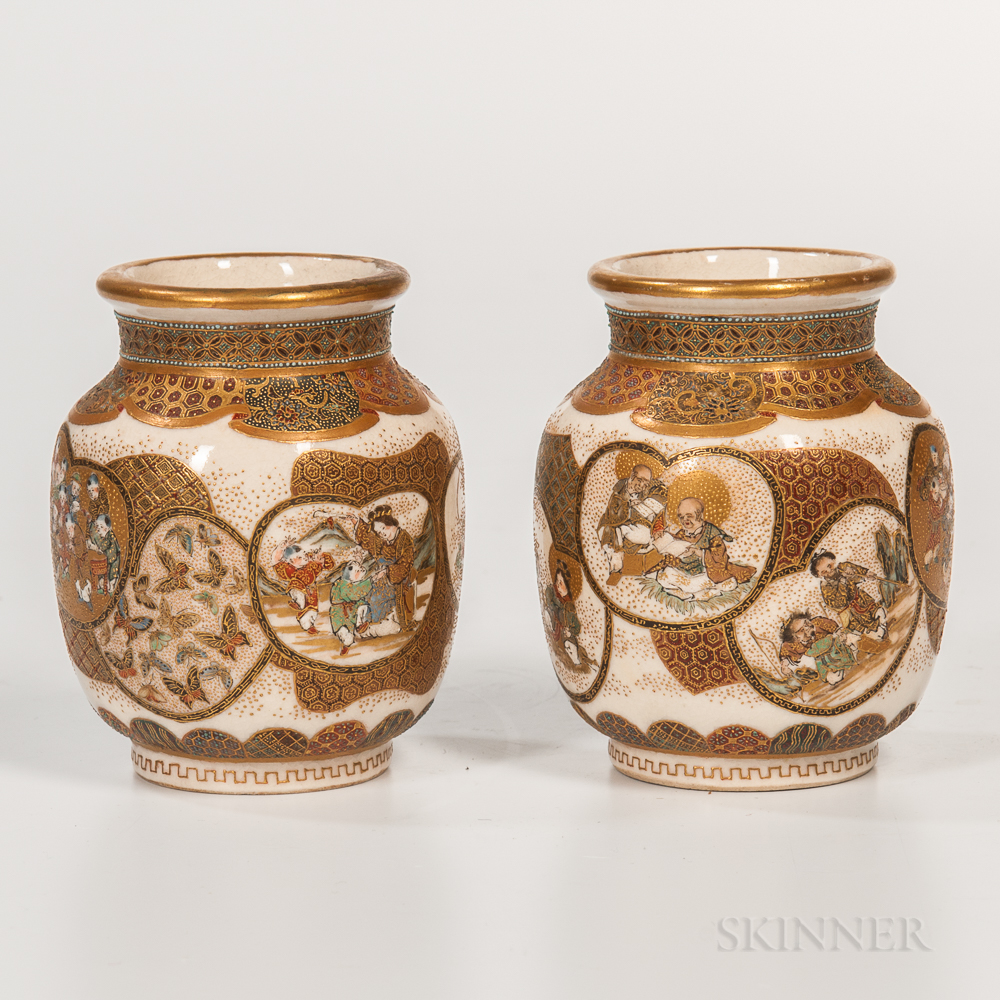 Pair of Small Satsuma Vases