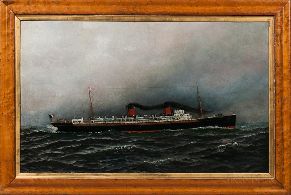 Antonio Nicolo Gasparo Jacobsen (Danish/American, 1850-1921)      Portrait of French Steamship La Lorraine