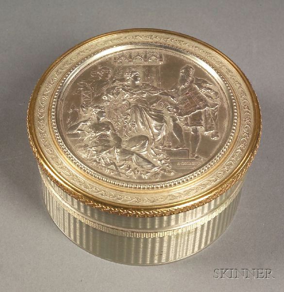Continental White Metal Snuff Box with Allegorical Scene