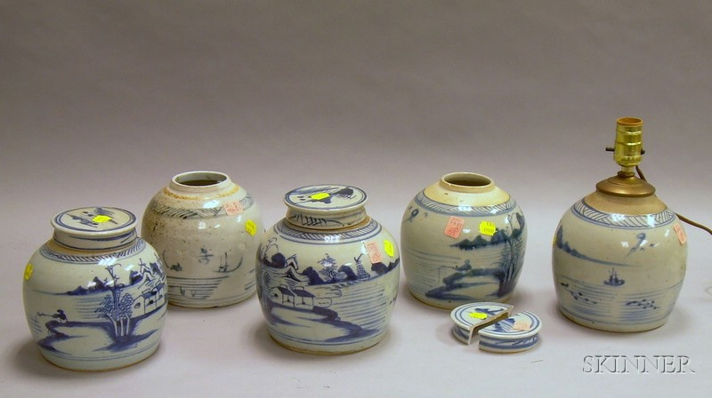 Five Chinese Blue and White Porcelain Ginger Jars