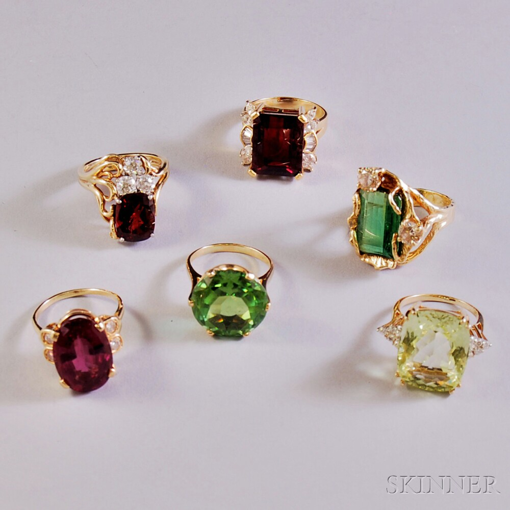 Six Gold and Gem-set Rings
