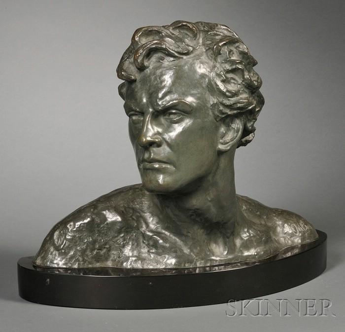 Alexander Ouline (active c. 1918-40),   Art Deco Bronze Bust of a Man