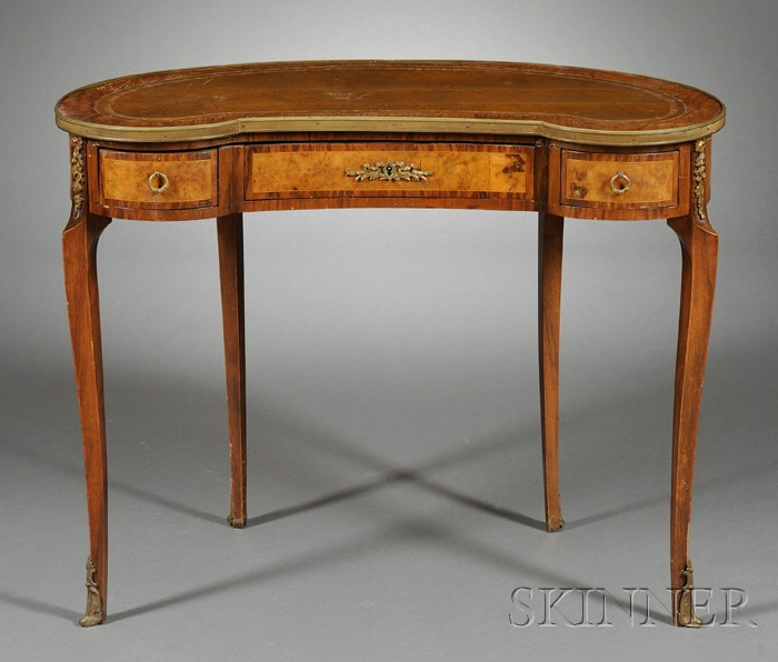 Louis XV/XVI style Bronze-mounted and Inlaid Walnut Leather-top Writing Table