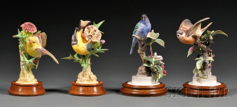 Two Pairs of Dorothy Doughty for Royal Worcester Bone China Birds