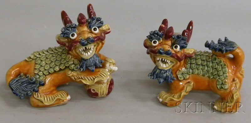 Pair of Chinese Glazed Porcelain Qilin Figures