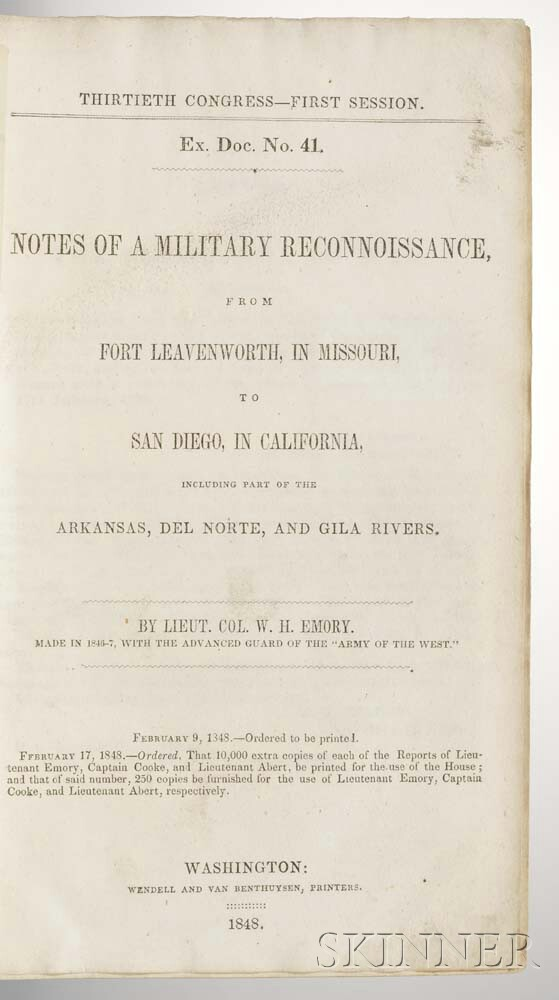 Emory, William Hemsley (1811-1887) Notes of a Military Reconnaissance.