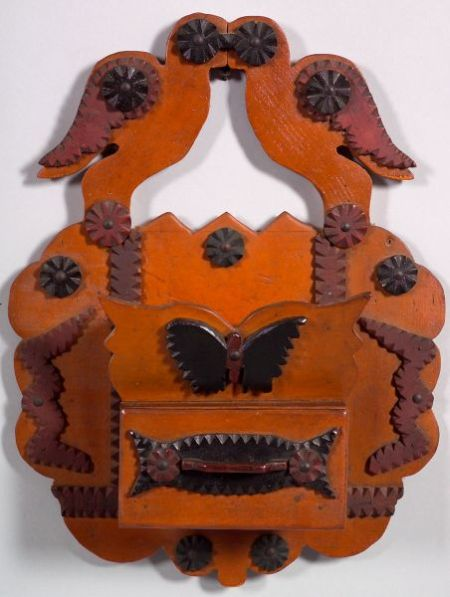 Carved and Painted Wooden Tramp Art Wall Pocket