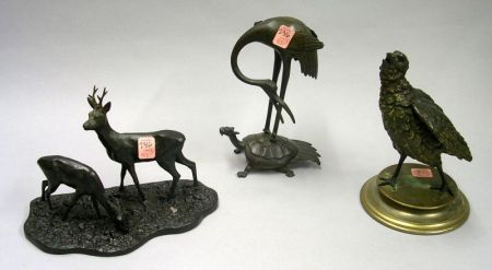 R. Petko Patinated Bronze Deer Figural Group, an Asian Bronze Crane on Mythical Turtle Figural Group, and a Continental Cold Painted Me
