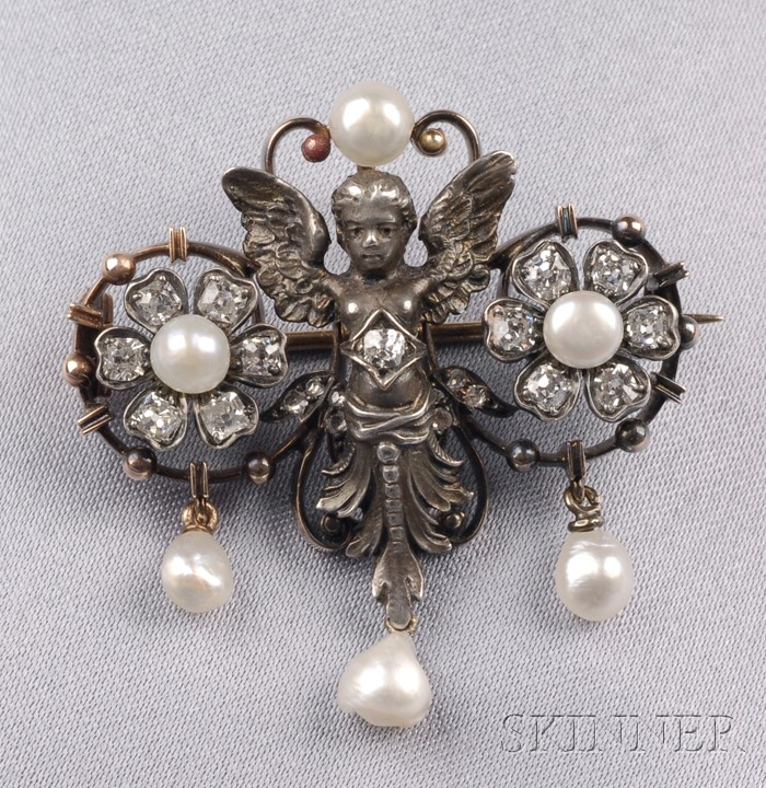 Antique Pearl and Diamond Pendant/Brooch