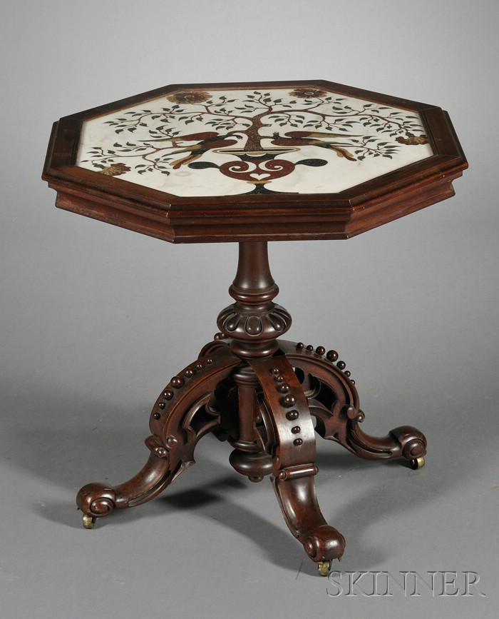 American Renaissance Revival Walnut and Italian Scagliola-topped Library Table