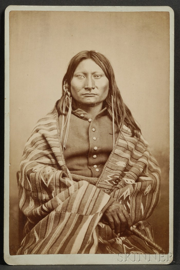 Cabinet Card Photograph of a Comanche Brave