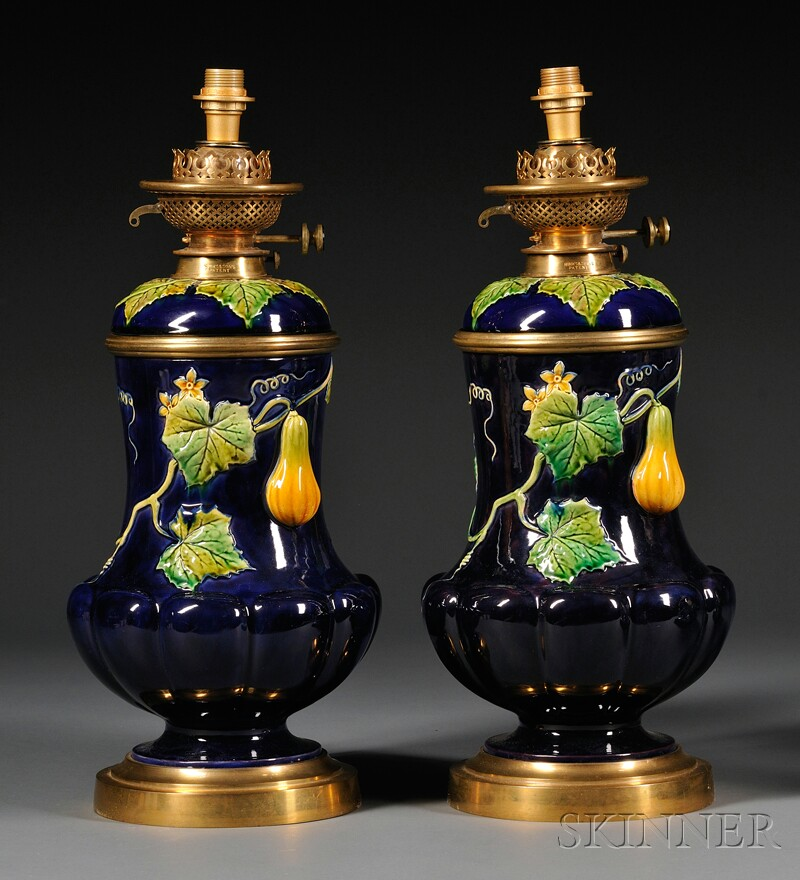 Pair of Brass-mounted Majolica Oil Lamps