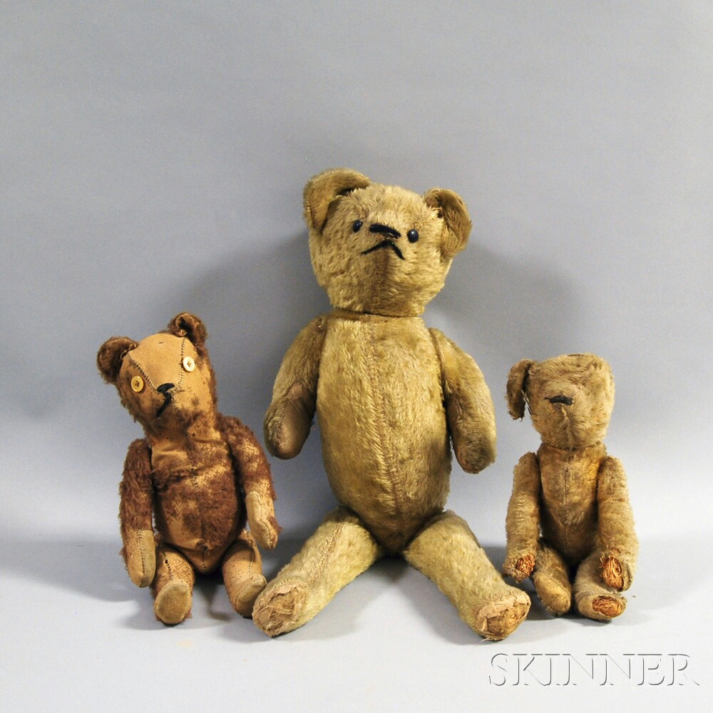 Three Early Mohair Teddy Bears