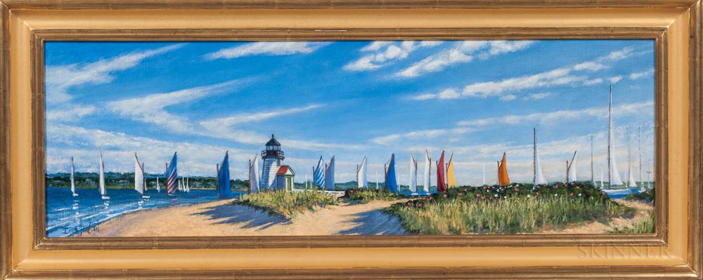 Illya Kagan (Massachusetts, 20th Century)      Untitled (Sailboats and a Lighthouse)
