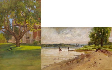 American School, 19th Century    Lot of Two Landscape Views:  Fishing on the River