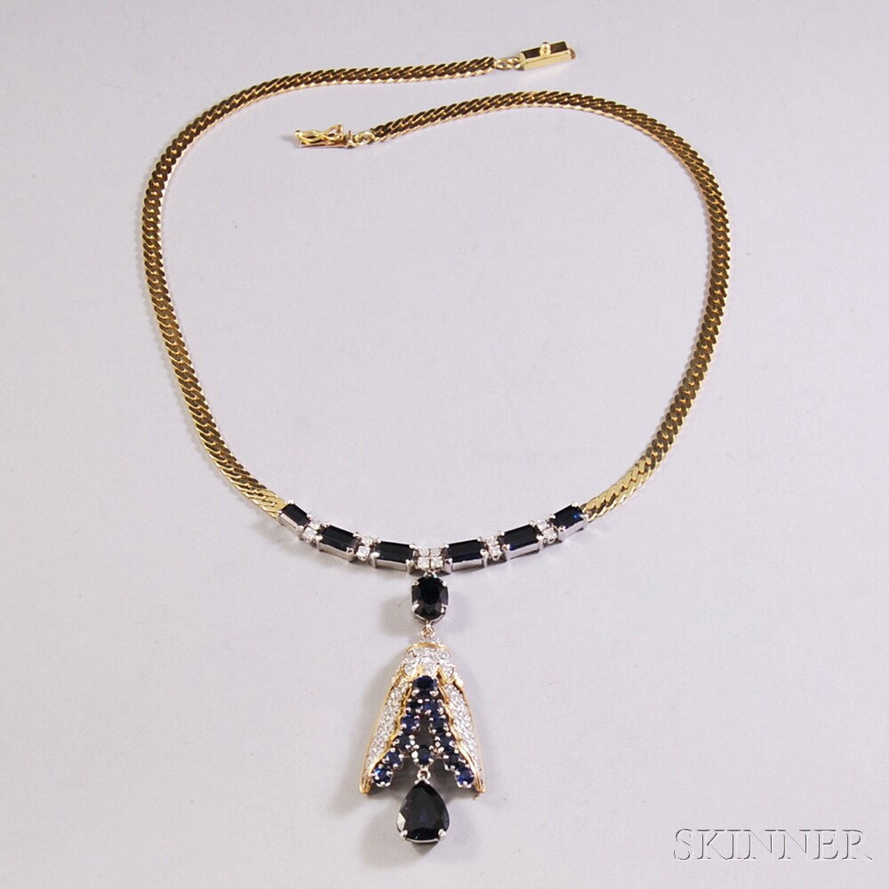 14kt Gold, Sapphire, and Diamond Pendant Necklace