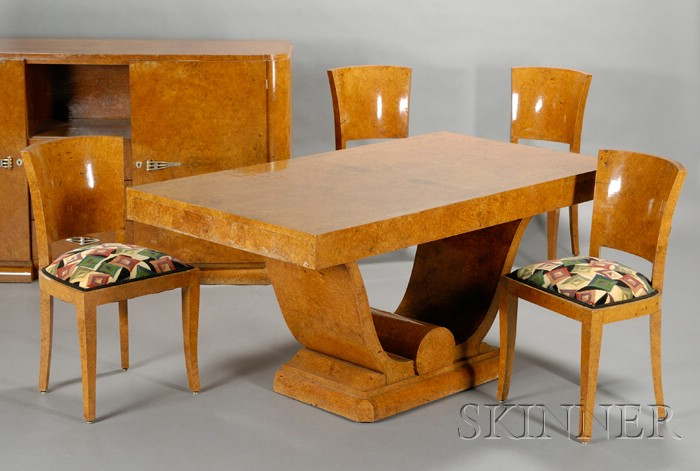 Art Deco Dining Table, Six Chairs, and Sideboard