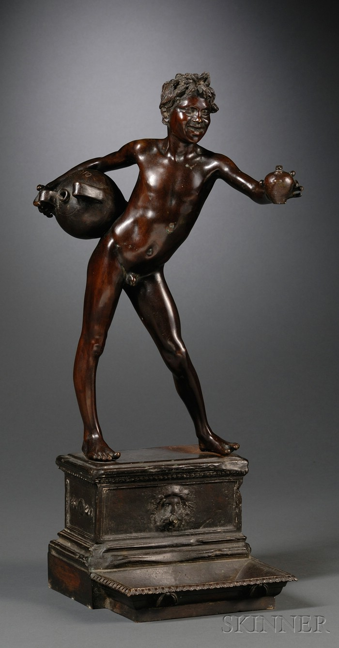 Vincenzo Gemito (Italian, 1852-1929)       Bronze Figure of a Young Water Carrier, Acquiaolo