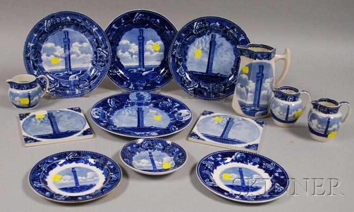 Thirteen Wedgwood Provincetown, Massachusetts, Transfer-decorated Ceramic Tableware Items.