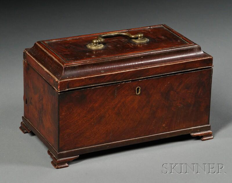 English Mahogany Veneer Tea Caddy