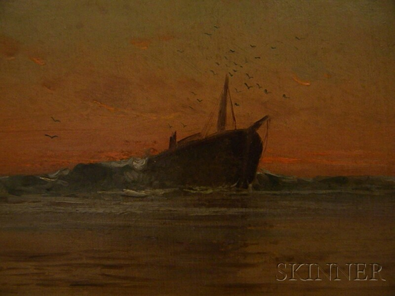 Attributed to Charles Henry Gifford (American, 1839-1904)      View of a Hulk at Sundown.