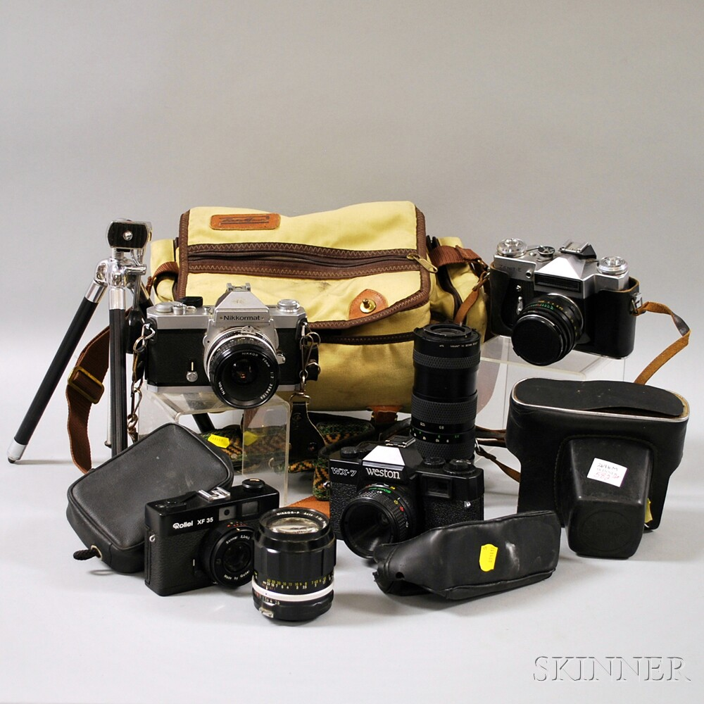 Group of Film Cameras, Lenses, and Other Camera Equipment