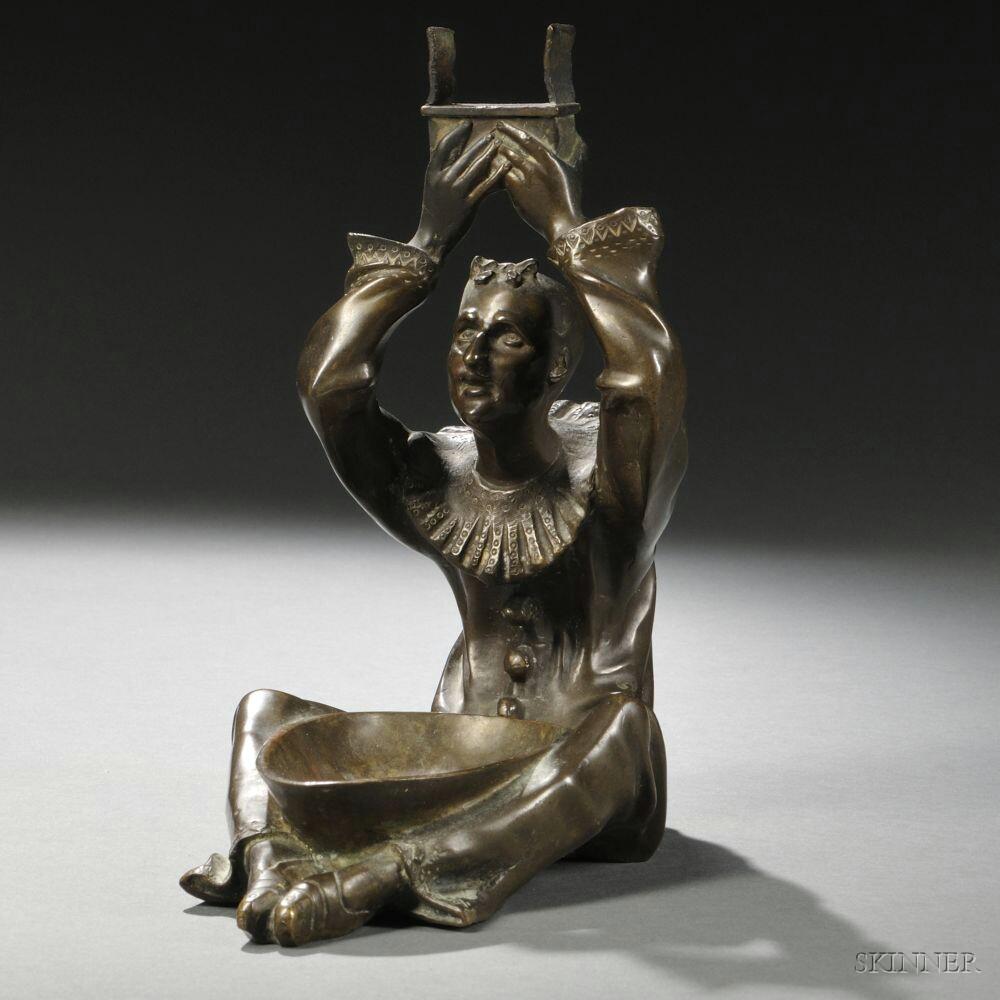 Bronze Figural Ashtray Cast as Pierrot