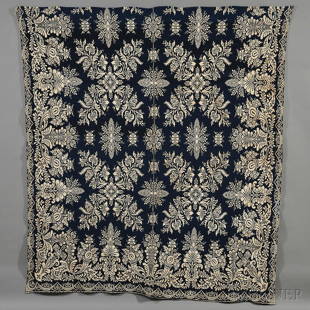 Loomed Jacquard Two-color Cotton Coverlet