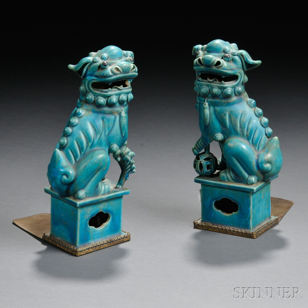Pair of Turquoise-glazed Buddhist Lions