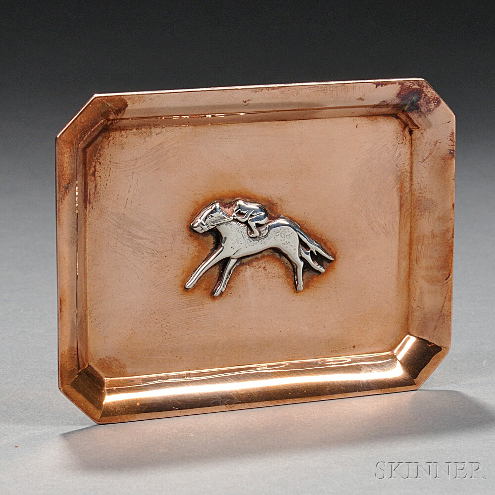 Tiffany & Co. Copper and Silver Racehorse Tray