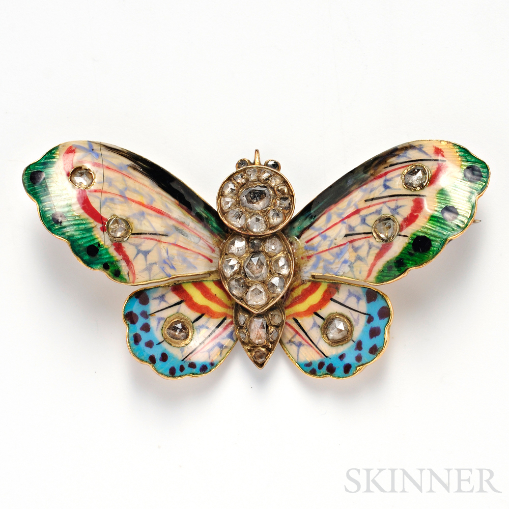 Antique Gold, Enamel, and Diamond Butterfly Brooch