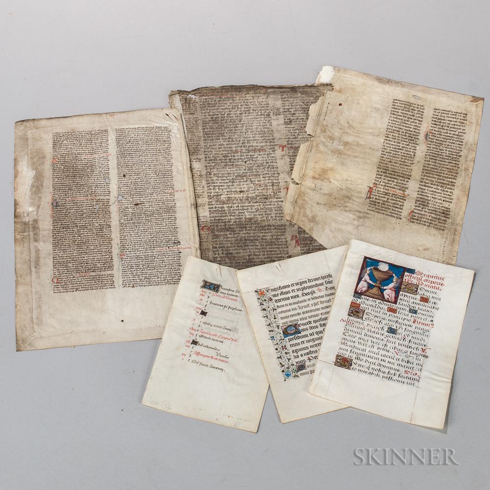 Medieval Manuscript Leaves, Group Lot.