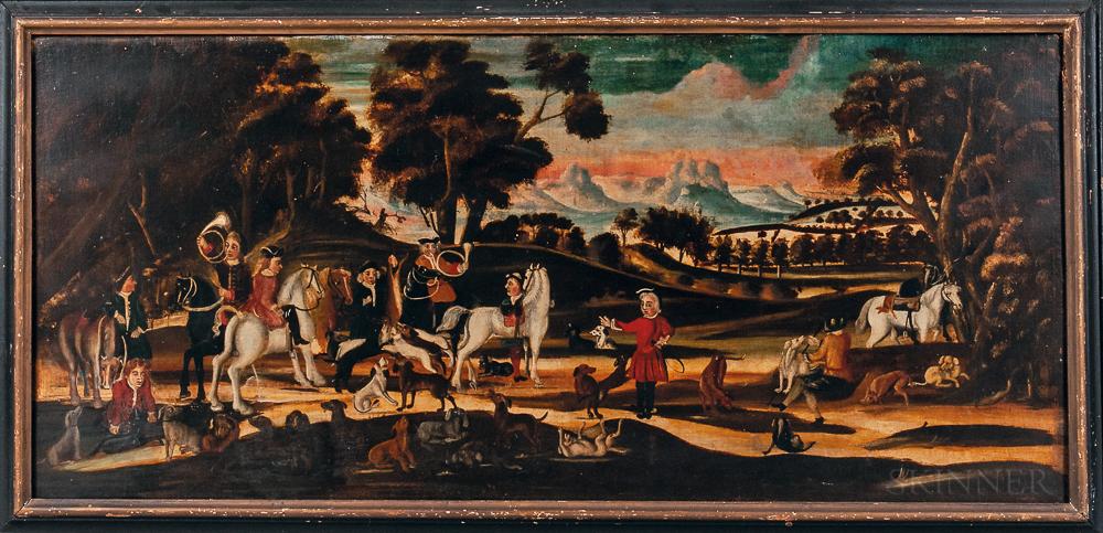 British School, 18th Century      A Provincial Hare Hunt
