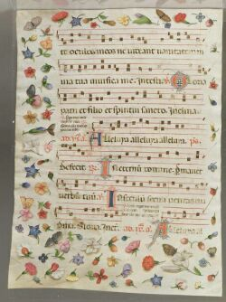 Spanish Baroque Antiphony Sheet with Decorative Borders