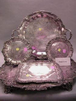 Twelve Silver Plated Serving Trays and Salvers and a Gorham Sterling Silver Tray.