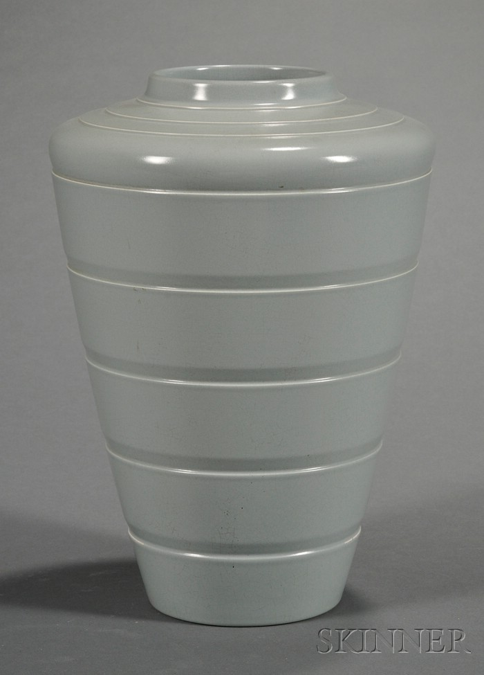 Wedgwood Keith Murray Gray Slip Decorated Vase