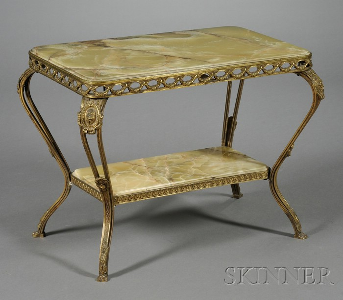 Neoclassical Style Bronze and Onyx Two-tier Low Occasional Table