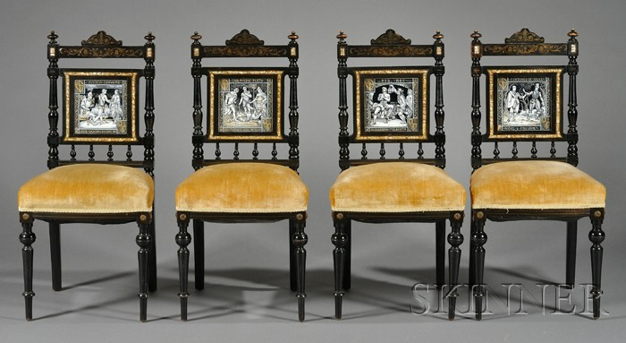 Set of Four Aesthetic Movement Tile-mounted and Brass-inlaid Ebonized Side Chairs