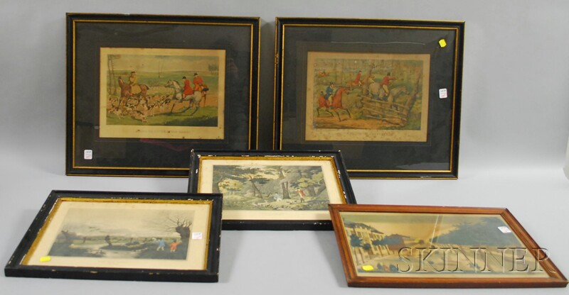 Four Framed 19th Century English Hand-colored Lithograph Hunting Scenes and a French Hand-colored Lithograph Vue du Canal et de l-Hotel