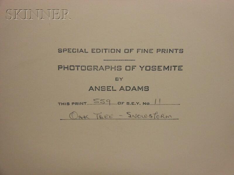 Ansel Adams (American, 1902-1984)      Oak Tree - Snowstorm, Yosemite National Park, California