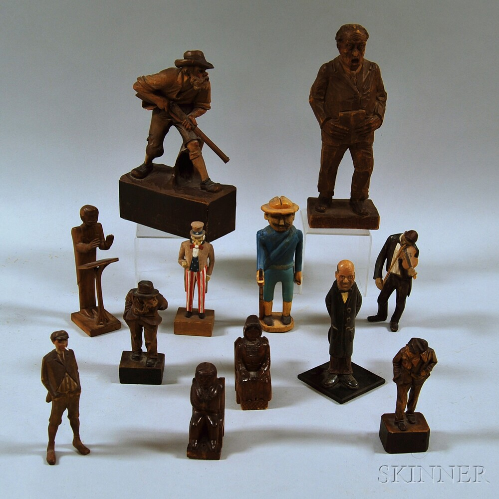 Group of Modern Figural Wood Carvings