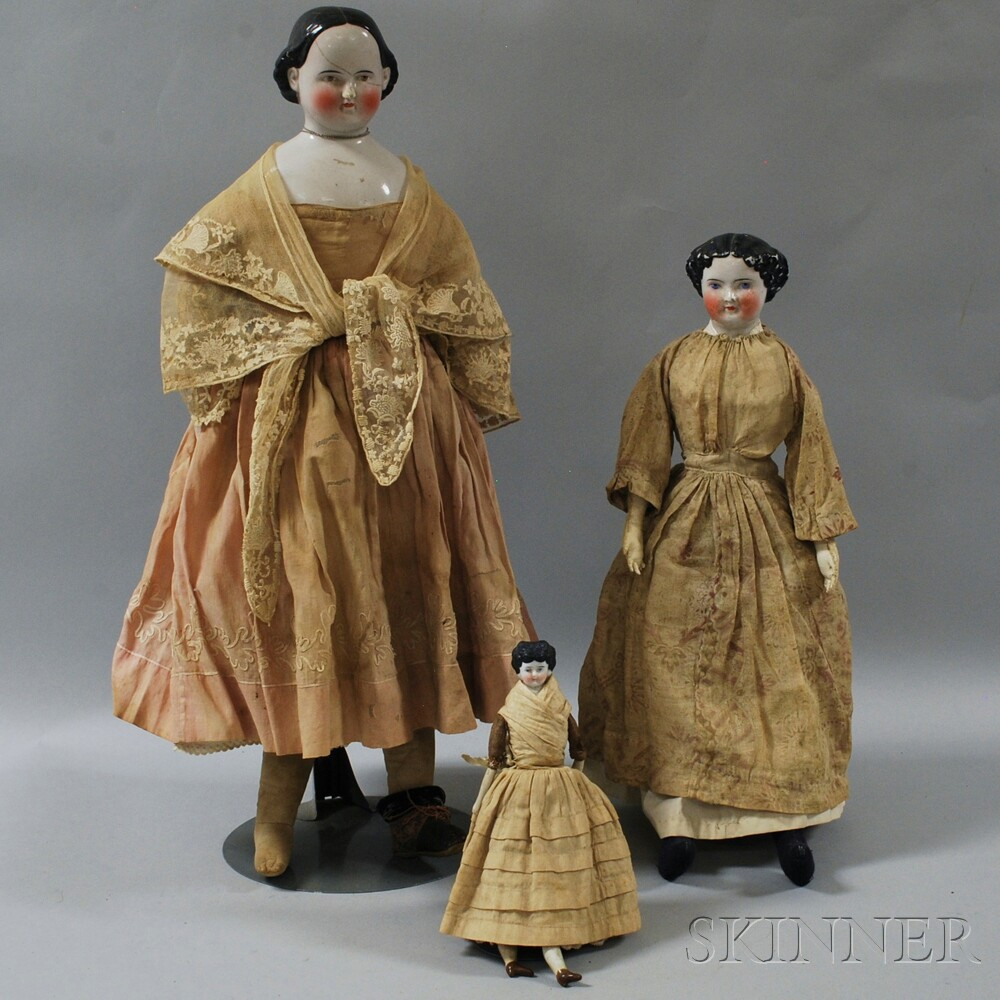 Three China Shoulder Head Dolls