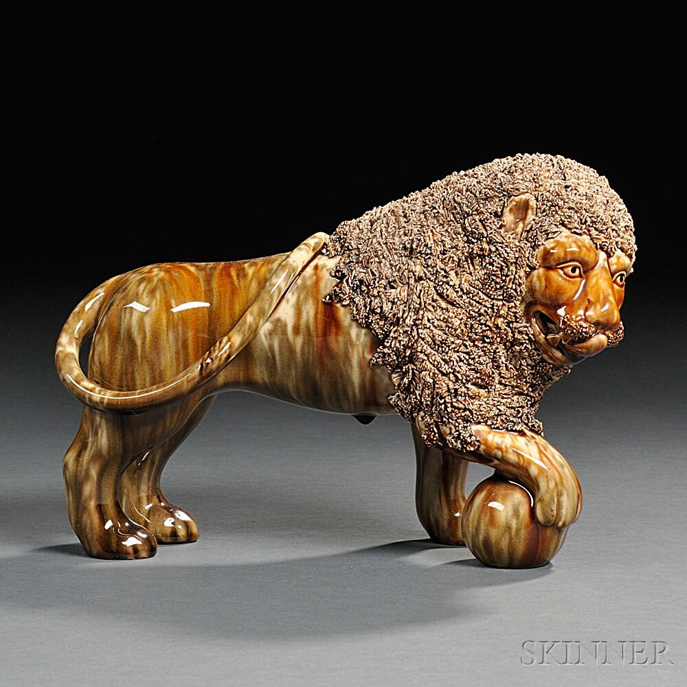 Bennington Pottery Flint Enamel Glazed Lion