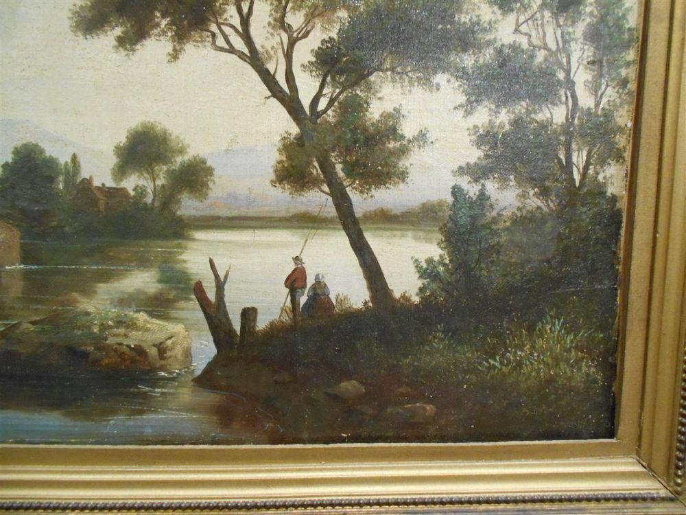 Attributed to Jules Dupre (French, 1811-1889)    Figures by a River