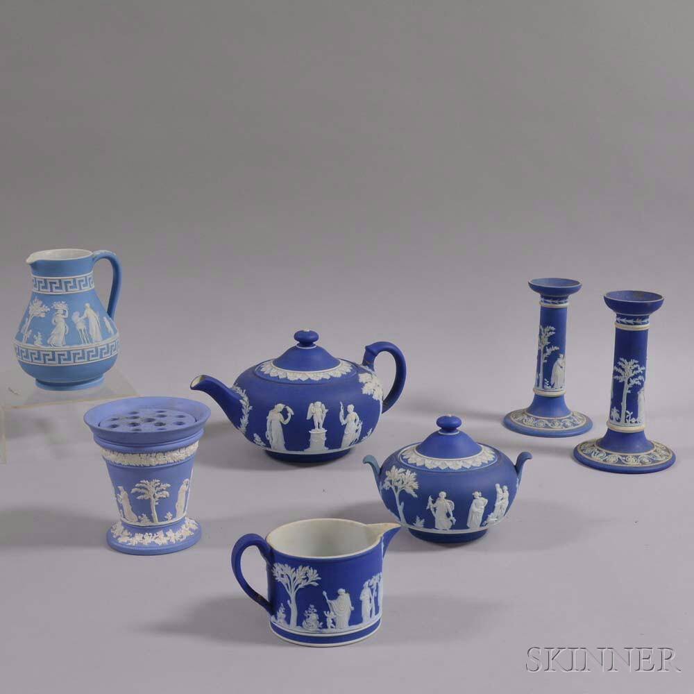 Seven Wedgwood Blue Jasper Items