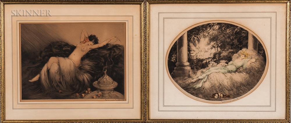 Louis Icart (French, 1888-1950)      Two Framed Etchings: La Belle Au Bois Dormant